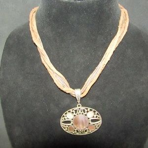 Jewelry - Vintage leather & abalone fashion necklace